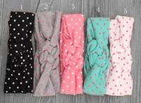 Wholesale Cotton Hair Tie - Wholesale- Baby Headband Dot Bow Headband Top Knot Headband Polka Dot Cross Knot Baby Turban Tie Knot Headwrap Hair Accessories