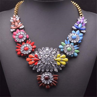 Wholesale luxury xmas gifts online - Flower Necklace Brand Crystal Chokers Luxury Multicolor Statement Shourouk Girls Necklaces Pendants Girl Trend Jewelry Xmas Gift