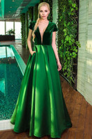 Wholesale Most Elegant Prom Dresses - Sexy Green Red Satin Velour The most Elegant Short Sleeve A-line Long Evening Dress With V-neck Low back Prom Dresses 2017