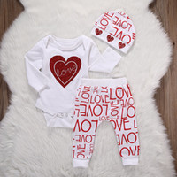 Wholesale Love Baby Clothes - INS 3pcs suit Newborn Infant Baby Girl Love Heart Romper+letter Pants hat Outfits Set Clothes kids girls cloth