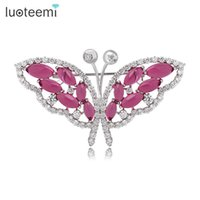 Wholesale Color Red Activities - Luxury Zircon Crystal Butterfly Brooch for Women Activity Wedding Party Jewelry Crystal Brooch Pins White-Gold Color LUOTEEMI