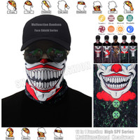 Wholesale Knitted Beachwear - 1pc lot High Quality Funny Clown Outdoor Bandana Scarf Elastic Magic Seamless Joker Face Shield Mask Multifunctional Headwear