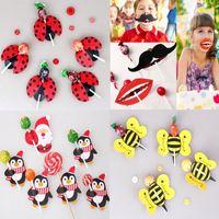 Wholesale Wholesale Mustache Candy - 2017 New 50Pcs lot Lips Mustache Bee Ladybug Kids Lollipop Paper Decorative Card Candy Stick Wedding Birthday Party Favors Gift