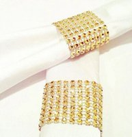 "Wholesale Golden Napkins - Wholesale-1.55""X13cm 8 rows silver golden Diamond sparkle Rhinestone Wraps napkin rings Wedding decoration home decor"