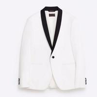 en yaka gelinlik toptan satış-Şal yaka erkek takım elbise ceket yakışıklı bir toka toka eğlence takım elbise ceket damadın en iyi adam düğün misafirler elbiseler ceket