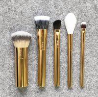 Wholesale Metal Brushes - Brand Tarte makeup brushes 5 pcs set Golden Christmas Edition brush blending powder foundation eyes conceal contour make up brush.