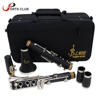Wholesale Nickel Resin - Wholesale-Clarinet ABS 17 Key bB Flat Soprano Binocular Clarinet with Cleaning Cloth Gloves 10 Reeds Screwdriver Case Woodwind Instrument