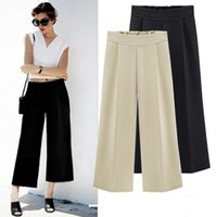 Wholesale chiffon trousers for women - Chiffon Wide Leg Pants Women Casual Loose Hight Waist Plus Size Ankle Length Trousers Female Culottes For Office Wear Ladies