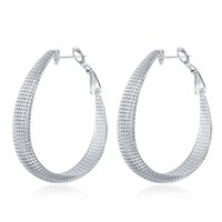 Wholesale Flower Shaped Hoop Earrings - New Fashion 925 Silver Plated Big Egg Shape Concave Hoops Earrings Ladies Eardrop Jewelry For Party