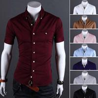 ingrosso striscia sottile-Camicia uomo bordata a righe con ricamo a fungo piccolo uomo estate, camicie uomo Slim Fit 8 colori