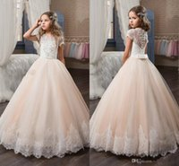 Wholesale New Model Dresses For Kids - 2017 New Baby Lace Appliqued Short Sleeve Ball Gown Princess Flower Girls Dresses Beaded Sequins Kids Pageant Gowns for Birthday Party