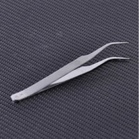 uñas postizas de plata al por mayor-1 unid Nueva Plata 11 cm Pinzas Curvas de Acero Inoxidable 45 Angle pestañas Rizador para Extensión de Pestañas Falsas Nail Art Picking Tool