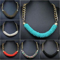 Wholesale Necklace Mannequins - 3pcs Hot Fashion Handmade Bohemia Beaded Chunky Chain Bib Collar Necklace Gift