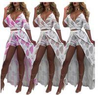 Wholesale Elegant Butterfly Sleeves - Women Two piece dress High Quality Elegant suit deep V off-the-shoulder Crop Top Floral Printed ruffled pantskirt