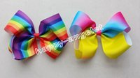 Wholesale Tie Clips For Kids - 20pcs newest Fashion 6'' Handmade Boutique Rainbow Striped Sweet Hair Bows Alligator Clips hair ties For Kids Girls Hair Accessories HD3467