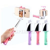 Wholesale Holder Timer - Monopod Pocket Wireless Selfie Stick Bluetooth Extendable Self Timer For iPhone Samsung HTC Wired Adjustable Grip Holder with Retail Package