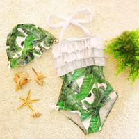 Wholesale Korean Girls Swim Suit - New Korean 2017 New Baby Girls One Pieces Kids Girl Bathing Suits Baby Swimsuit Ruffle Bow Princess Three Pieces Swim Cute Bikini