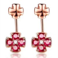 Wholesale Natural Ruby Earrings 18k - Natural Clover Ruby with 925 Sterling Silver Earrings 18KT Gold Plated Stud Fashion Jewelry for Women's Weddings Party