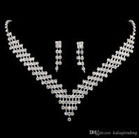Wholesale Classics Beaded Earrings - Shiny Sliver Necklaces and Earrings Bridal Jewelry Sets Cheap In stock Fast Shipping Beaded Crystals Amazing Necklace for Prom Party