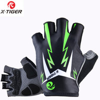 Wholesale X Man Bike - X -Tiger 3D Gel Pad Bright Green Sport Gloves With Reflective Half Finger Mtb Bike Gloves Cycling Gloves Mountain Bicycle Glove
