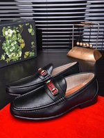 Wholesale Dresses Elegant For Office - Fashion 2017 Men Genuine Leather Shoes Pointed Toe Elegant Party Dress Flats Shoes Luxury Brand Oxfords For Men Business Shoes Size 38-45