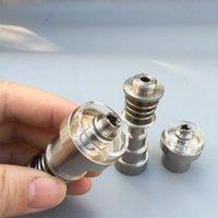 bols à pipe en titane achat en gros de-Clous en titane / Clou hybride en quartz 10/14 / 18mm 6 en 1 clou en titane avec bol en plat en quartz pour pipe à eau