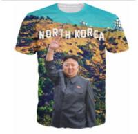 Wholesale Mens Casual Shirt Korea - Newest Fashion womens mens North Korea Kim Jong Un short sleeve Funny 3D Print casual T-shirt TX00101