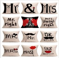 Housse d'oreiller en lin Cartoon Couple Mr Mme Souris Mr Right Throw Pillow Case Home Textile Coussin Housse Couvre Pillowslip 15 design KKA2100
