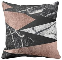 """Wholesale Elegant Cushions - Throw Pillow Case, Elegant Modern Marble, Rose Gold, & Black Triangle Squar Sofa and Car Cushions Cover, """"16inch,18inch,20inch"""", Pack of X"""