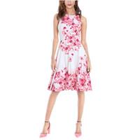 audrey hepburn baskı elbisesi toptan satış-2018 Yaz Kadın Elbise Audrey Hepburn Vestidos Kolsuz Polka Çiçek Baskı Giyim Pamuk 50 s Casual Parti Rockbilly Artı Boyutu FS2010