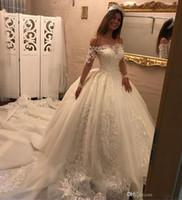 online shopping Ball Gowns - Romantic Off Shoulder Ball Gown Wedding Dresses Long Sleeves 2017 Lace Appliques Bridal Gowns Court Train Vestido De Noiva