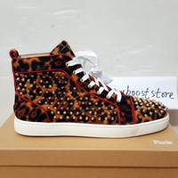 Wholesale Mens Studded Shoes - Wholesale Leopard Studded Luxury Designer Shoes High Top Skate Red Bottom Sneakers Mens Womens Casual Shoes Brand New 36-46