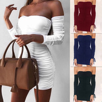 Wholesale tight long sleeved dresses - Ladies Autumn Sexy Tight Strapless Bandeau Short Mini Dress Womens Long Sleeved Fall Clubwear Cocktail Party Bodycon Bandage Dresses