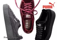 Wholesale Creepers Sneakers - Puma By Rihanna Fenty Velvet Creeper Red Black Grey Women Men Running Shoes Rihanna Puma Creepers Pumas Suede Creeper Sneakers 36-44s 36-44
