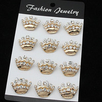 Wholesale Little Girls China - Pretty Crystals Small Crown Brooch Fashion Wedding Cake Brooches Pins Hot Selling Wholesale Little Crown Girls' Collar Pins