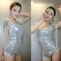 Wholesale leather stage clothes - Jazz silver Sequined tassels bodysuit party nightclub singer dancer stage clothing female sexy costumes stars bar show