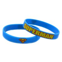 Wholesale Silicone Wristband Printed Logo - Wholesale Shipping 100PCS Lot Printed Logo Superman Silicone Wristband For Animation Fans Gift Bracelet Adult Size