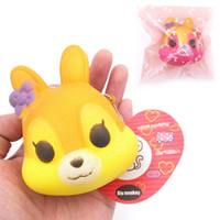 Wholesale Soft Toy Flowers - 20pcs Lot,8.5cm PU soft Cute little flower Fox Squishy Charm   Bag Decorations   Decompression Toys
