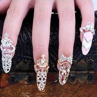 Wholesale China Jewelry Butterfly Ring - Colorful Crown Crystal Finger Nail Art Ring Jewelry Nail Finger knuckle Rings tail ring Butterfly knot crown protect nail alloy Accessory