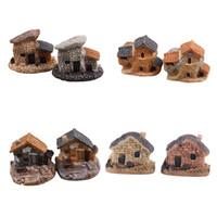 ingrosso cottage in miniatura-Wholesale- Casa delle bambole Micro Miniature Decorazione Casa delle bambole in pietra Fairy Garden Cottage Paesaggio Artigianato di design fai da te 4 tipi