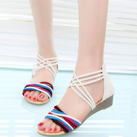 Wholesale Colorful Wedges Shoes - Women summer colorful cross straps low-heeled sandals casual shoes flat sandals Black,White 35 - 40 code