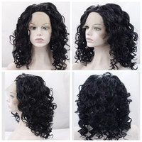 Wholesale Red Blonde Hairstyles - Synthetic Lace Front Wig Curly Wavy Hair Wigs For Black Women Short Hairstyles Nutural Black Color