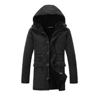 Wholesale Mens Thick Lined Winter Coat - Wholesale- 2016 Winter Fashion Mens Winter Quilted Jackets Long Hooded Expedition Parka For Man Cotton Lined Warm Coats LQ646