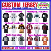 Wholesale Green Bay Football Jerseys - Custom American Football Jerseys Oakland Philadelphia Eagles Pittsburgh San Francisco Seattle Tampa Bay Throwback Cheap Stitched Jersey 6XL
