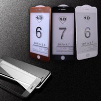 Wholesale Iphone Full Boxes - New 4D Full Cover Screen Protector For iPhone 7 Plus High-quality 3D Curved Tempered Glass With Retail Box goophone 7 plus