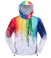 Wholesale Trench Coat Vogue - 3D Color Paint Vogue teenager quick-dry Windbreaker Hip Hop Street wear Hooded jacket novel men's long trench coats