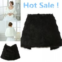 Wholesale Elegant Wedding Shawls - Wedding Bolero Jacket White Black Bridal Wraps Elegant Boleros Shrugs Regular Faux Fur Stole Capes Shawl with Peals 17013
