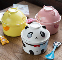 Wholesale Paint For Pottery - Salad Pottery Noodles Ceramic Bowl Soup Tableware Dinner Bowl Spoon Creative Lovely Hand Painted For Children Cartoon Flatware