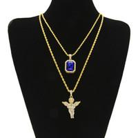 pendentif anges achat en gros de-Glacé Out Ruby Collier Set Marque Micro Ruby Angel Jesus Wing Pendentif Hip Hop Collier Mâle Bijoux En Gros