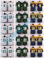 Wholesale Elite Football Jerseys - Men Elite Style Stitched PACKERZ #12 RODGERS #18 COBB #21 CLINTON-DIX #87 NELSON White Blue Green jerseys football Drop shipping